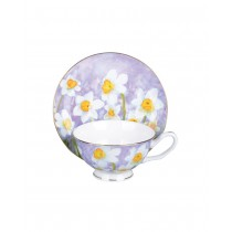 Daffodil w/Pastel Purple Tea Cups and Saucers, Set of 4