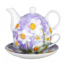 Daffodil w/Pastel Purple 4 Piece Tea for One Set