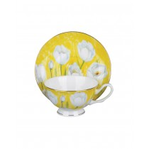 Tulip w/Pastel Yellow Tea Cups and Saucers, Set of 4