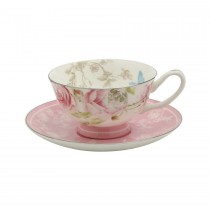 Beau Rose Bone China Tea Cups and Saucers, Set of 4