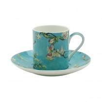 Cherry Blossom Blue Espresso Cups and Saucers, Set of 4