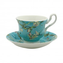 Cherry Blossom Blue Tea Cups and Saucers, Set of 4