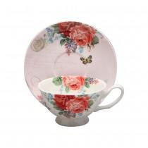 Liz Garden Red Tea Cups and Saucers, Set of 4