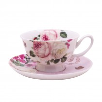 Botanical Pink Butterfly Coffee Cups and Saucers Set, Set of 4