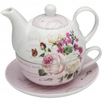 Botanical Pink Butterfly 4 Piece Tea for One