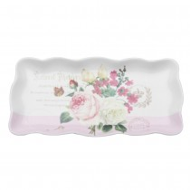 Botanical Pink 10.25-inch Butterfly Loaf Tray, S/4