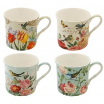 4 Assorted Botanical Birds Princess Mugs, Set of 4