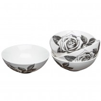 Pixel Black Rose Cereal Bowls, Set of 4