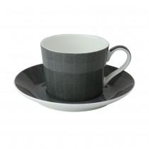 Charlie Charcoal Coffee Cups and Saucers, Set of 4
