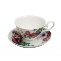 Poppy Day Cups and Saucers, Set of 4