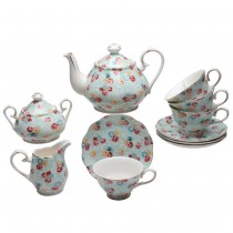 Shabby Rose Blue 11 Piece Tea Set