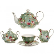 Shabby Rose Green 11 Piece Tea Set