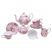 Shabby Rose Pink 11 Piece Tea Set