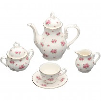 Red Rose Bud Tea Set