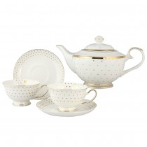 5 Piece Gold Polka Dots Tea Set, Lady Grace, Gift Boxed