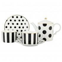 Black Polka Dots 5 Piece Tea Set, Gift Boxed
