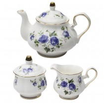 Blue Scatter Rose 3 Piece Tea Set, Gift Boxed
