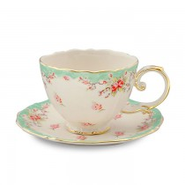 Green Vintage Rose Teacups and Saucers, Set of 4
