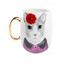 Gold Cat Handle Coffee Mug. Single Piece