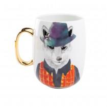 Gold Fox Handle Coffee Mug. Single Piece