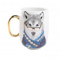 Gold Wolf Handle Coffee Mug. Single Piece