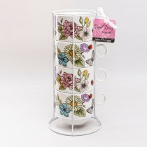 5 Piece Tower Coffee Mugs-Spring Floral