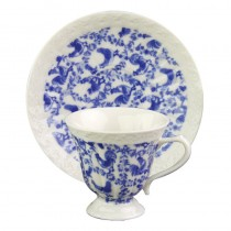 Blue Rooster Cups and Saucers, Set of 4