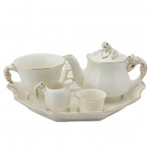 White Gold Hand Crafted Porcelain Rose Bud 6 Piece Tea Set