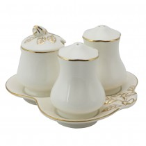 White Gold Hand Crafted Porcelain Rose Bud 4 Piece Serve Set