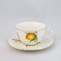 Crafted Gold Bee Lemon Tea Cup Saucer, Set of 4