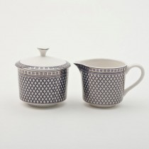 Blue Silver Geo Sugar Creamer Set