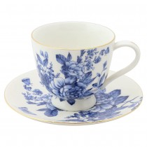 Blue Peony Bouquet Tea Cups and Saucers, Set of 4
