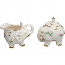Happy Elephant Spray Floral Sugar and Creamer Set