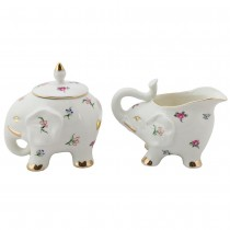 Happy Elephant Petite  Floral Sugar and Creamer Set