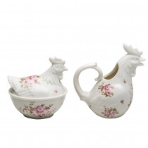Pink Floral Hen Sugar and Creamer Set