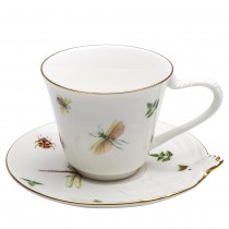 Dragonfly Chick Tea Cups and Saucers, Set of 2
