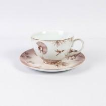 Espresso Lotus Garden Breakfast Cup Saucer, Set of 4