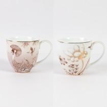 2 ASST Metallic Lotus Garden Mugs, Set of 4
