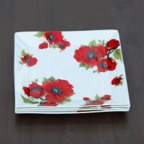 Poppy 8 Inch Square Platter - Set of 4