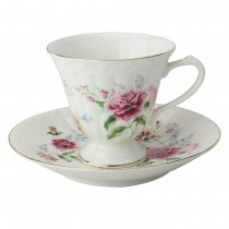 Stems of Roses Tea Cups and Saucers, Set of 4