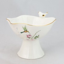 Crafted Gold Songbird Footed Candy Bowls, Set of 2