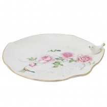 Crafted Gold Songbird Serving Leave 11-inch Platter.