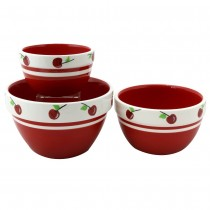 Red Cherry 3 Piece Mixing Bowl Set