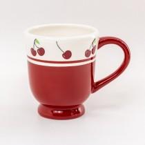 Red Cherry Footed Mug, 4 Piece Set