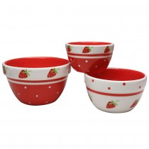Red Strawberry 3 Piece Mixing Bowl Set