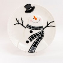 Black Snowman Dessert Plates, Set of 4
