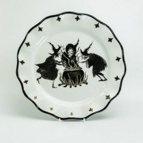 Halloween Witch  Black Gold Scallop Dinner Plates, Set of 2