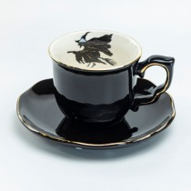 Halloween Witch  Black Gold Cup Saucers, Set of 2