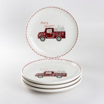 Farm House Christmas Truck  Salad Plates, Set of 4