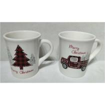 Farm House Christmas Ceramic Mug, Set of 4